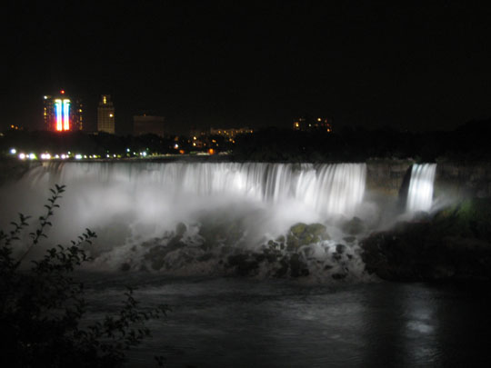 Niagra Falls, American Falls, illuminated at night