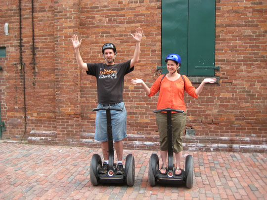 Celeste & I rode Segways through Torontos Distillery District
